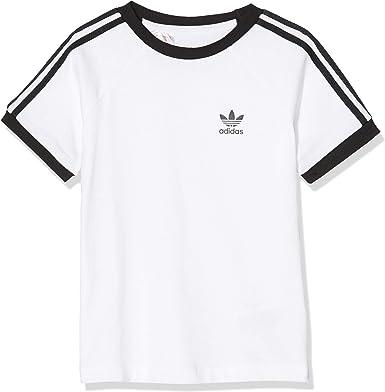 adidas 3stripes tee Camiseta de Manga Corta, Unisex niños, White/Black, 3-4Y