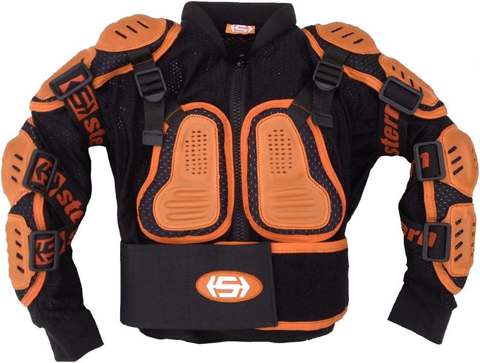 Kids Stern Motocross MX Body Armour Suit quad bike Jacket Childs Orange