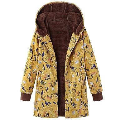 Linlink Abrigo de Mujer Invierno Caliente Suelto Outwear Estampado Floral Bolsillos con Capucha Vintage Abrigos De Gran TamañO: Amazon.es: Ropa y accesorios