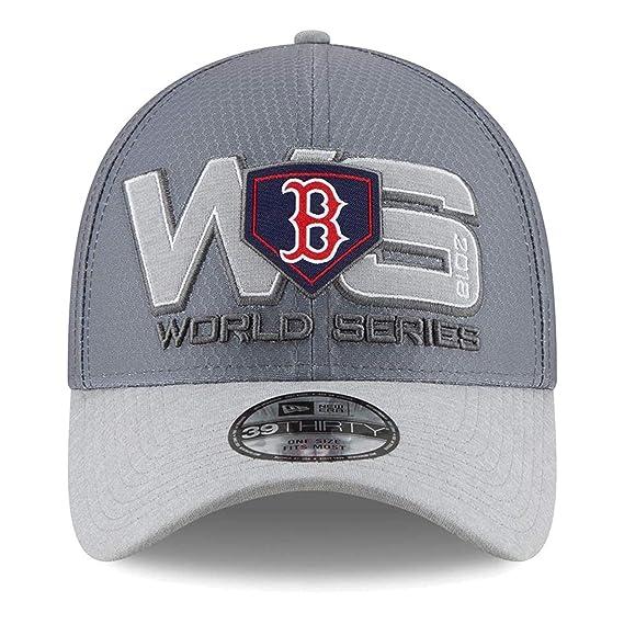 Amazon.com   New Era Boston Red Sox 2018 American League Champions Locker  Room 39Thirty Flex Hat - OSFM   Sports   Outdoors b3a1df34f859