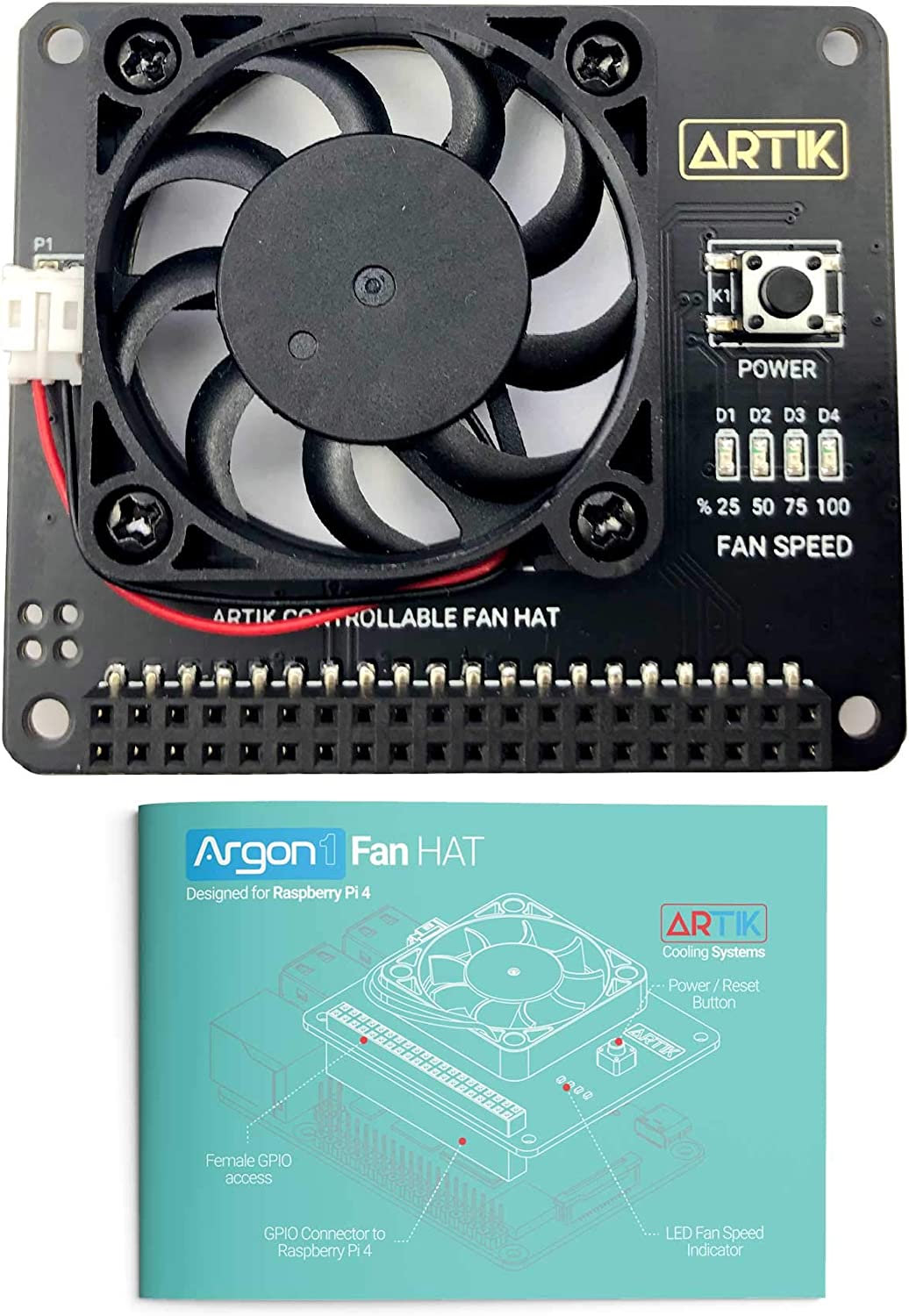Argon Fan HAT for Raspberry Pi 4, Raspberry Pi 3B, and Raspberry Pi 3 B+ | Includes 40mm Fan and Power Button | Provides Safe Shutdown, Forced Shutdown, and Rebooting
