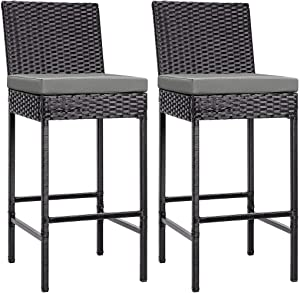 VIVOHOME 2 Packs Outdoor Wicker Barstool Patio Rattan Furniture with Cushions Black