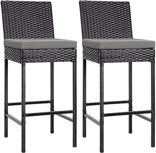 VIVOHOME 2 Packs Outdoor Wicker Barstool Patio Rattan Furniture