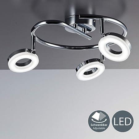 LED Lámpara de techo moderna I Foco en forma de espiral incl. 3x4,5W bombillas I Luz blanco calido 3000K I Giratorio y orientable I Color Cromado I ...