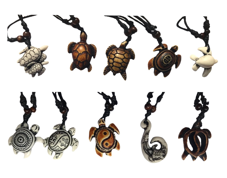 ASKANA 10pcs Fashion Cute Sea Turtle Pendant Necklace Set with Adjustable Cotton Cord (Set 2)