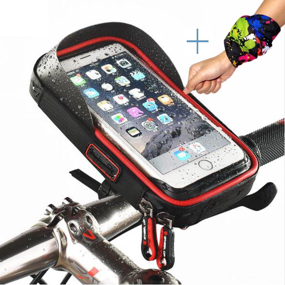 Bicycle Frame Phone Bag Bike Handlebar Bag Waterproof Up to 6 Inch Smartphones