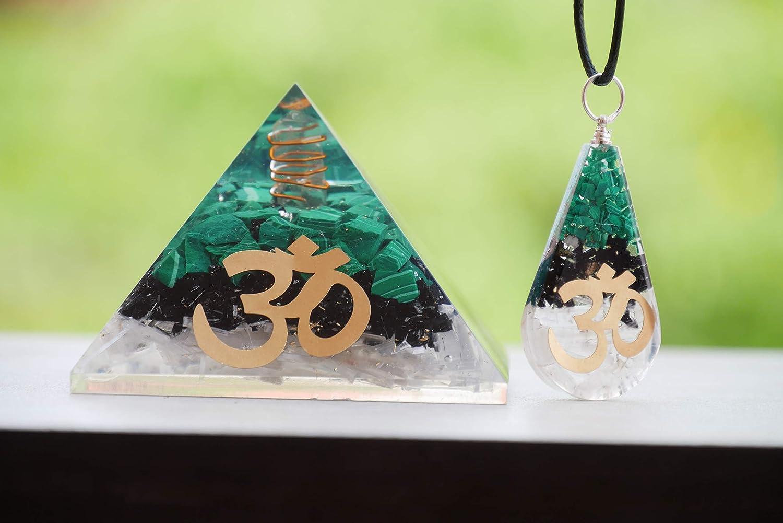 Green Malachite Black Tourmaline Selenite Handmade Orgone Pyramid With Crystal And Om Symbol Reiki Healing Crystal Good Luck Feng Shui Decor Chakra Balancing Positive Energy Stones Aura Cleansing