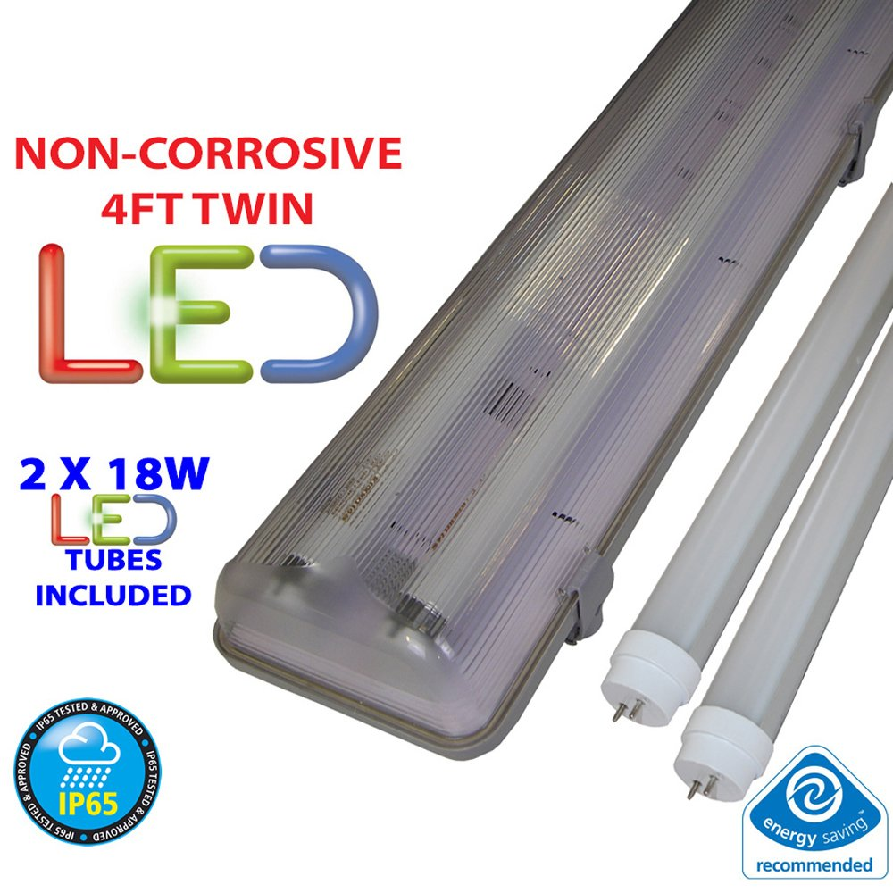 4FT TWIN LED 2 X 18W - NON CORROSIVE WEATHERPROOF FLUORESCENT LIGHT FITTING - IP65 - ENERGY EFFICIENT OUTDOOR STRIP LIGHT - IDEAL FOR GARAGES, WORKSHOP, SHEDS, GREENHOUSES OR COMMERCIAL APPLICATIONS - STURDY CONSTRUCTION - POLYCARBONATE DIFFUSER - BRANDED