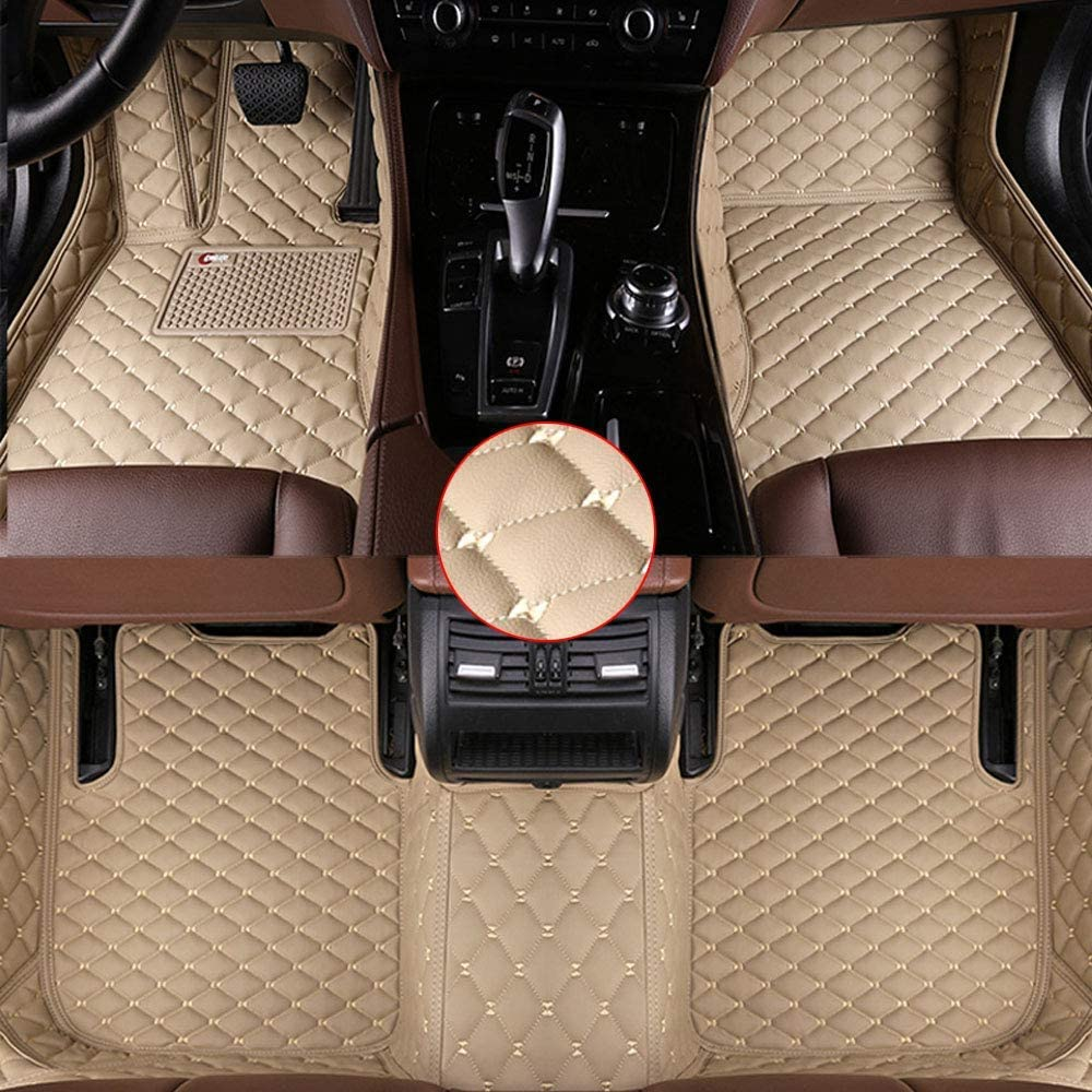 Muchkey Leather Car Mats Carpet for Cars Beige Car Floor Mats Fit for BMW 7 Series G11/G12 F01/F02 740i 740Li 750i 760i 2014-2017