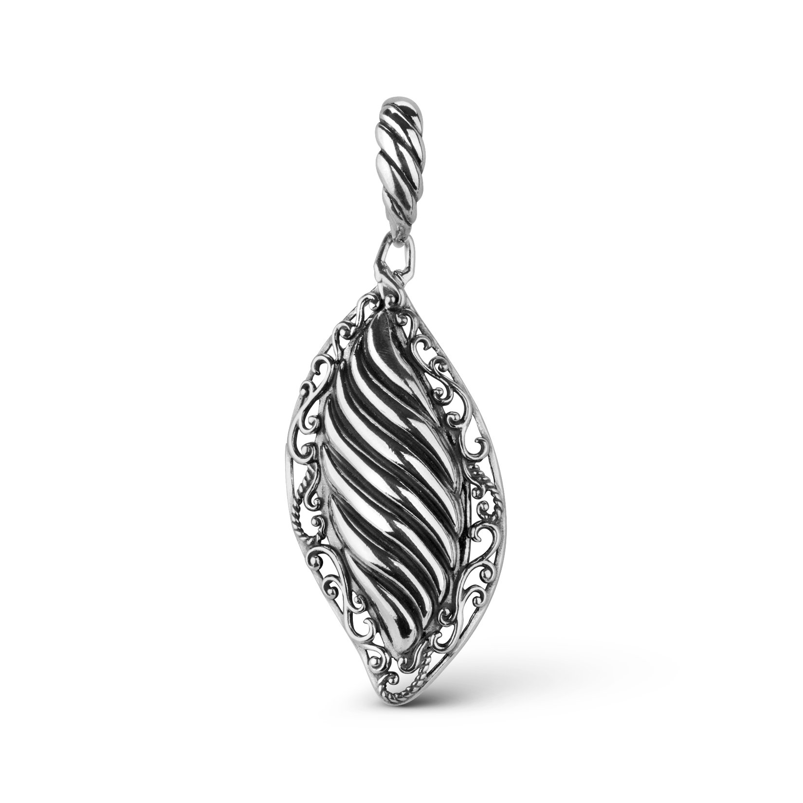 Carolyn Pollack Genuine .925 Sterling Silver Scroll Ribbed Pendant Enhancer