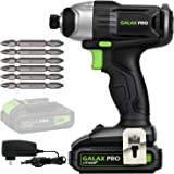"GALAX PRO 20 V Lithium Ion 1/4"" Hex Cordless Impact Driver with LED Work Light, 6 Pieces Screwdriver Bits, Variable…"