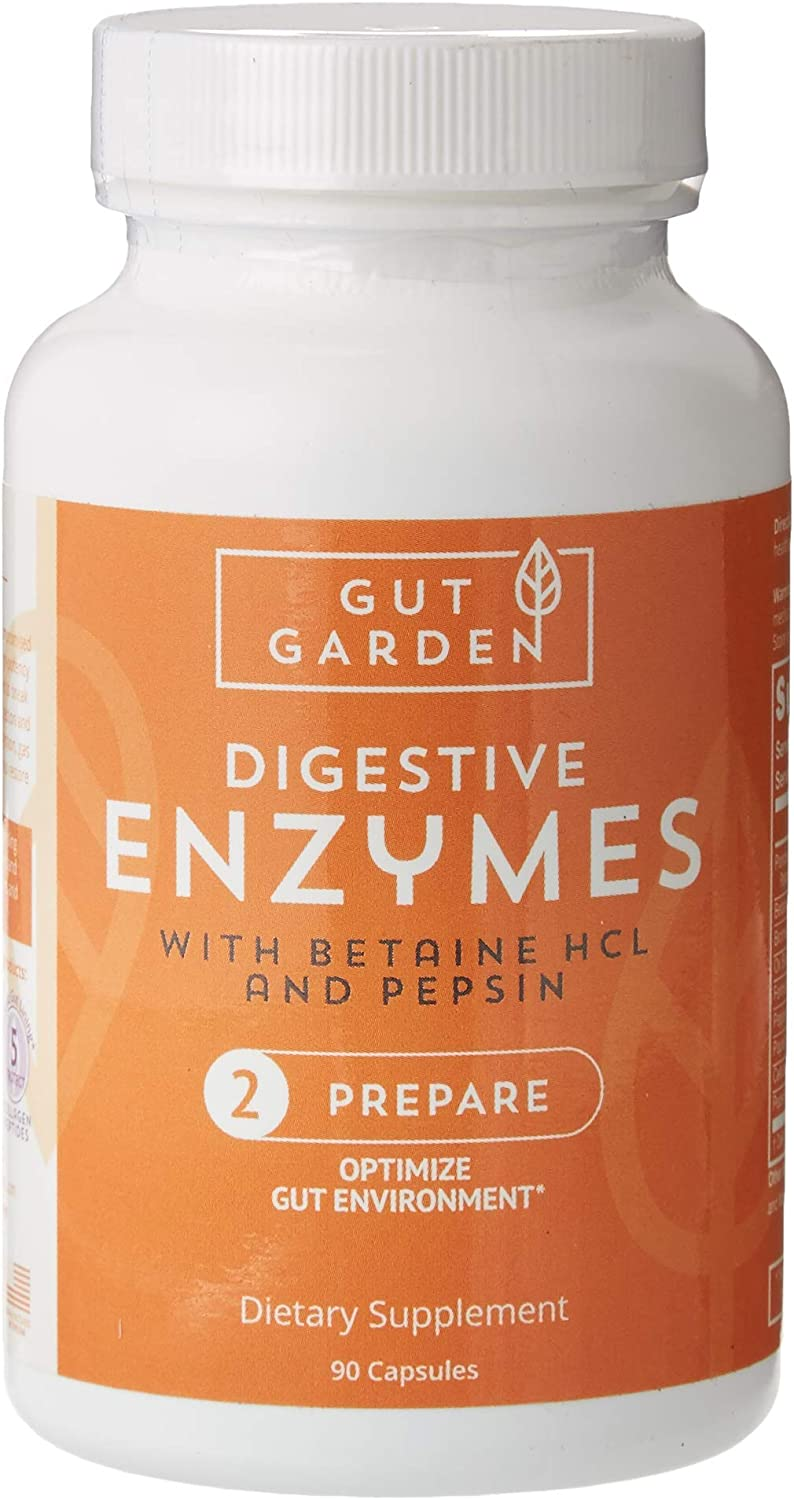 Gut Garden Digestive Enzymes with Betaine HCL with Pepsin - Digestive Health Supplement - Soy and Gluten Free - Bloating and Gas Relief - Constipation Relief - Acid Reducer - 90 Capsules