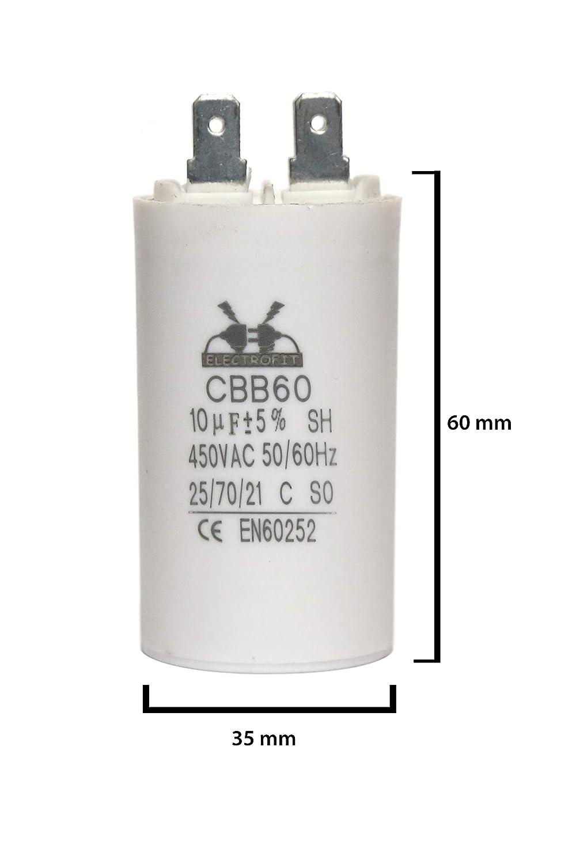 450 V, CA, 10 uF Condensador de motor Electrofit CBB60