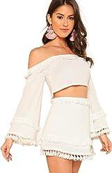 67565d8f0a SheIn Women's 2 Piece Outfit Fringe Trim Crop Top Skirt Set