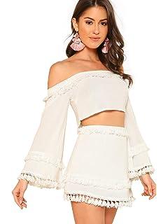 c5d9984584ce66 Floerns Women's Two Piece Outfit Off Shoulder Drawstring Crop Top ...