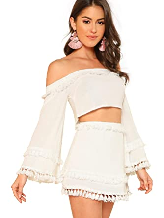 d7506c4e4c SheIn Women's 2 Piece Outfit Fringe Trim Crop Top Skirt Set X-Small White
