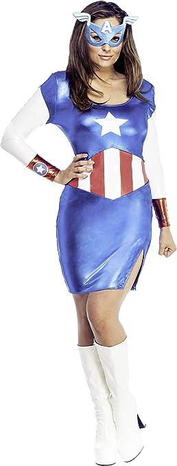 Vestido disfraz Capitán América clásico para mujer: Amazon.es ...