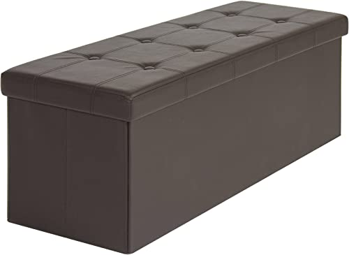Best Choice Products 44.5in Faux Leather Space Saving Collapsible Ottoman Storage Padded Bench Seat w Inner Divider and 300lb Weight Capacity, Brown
