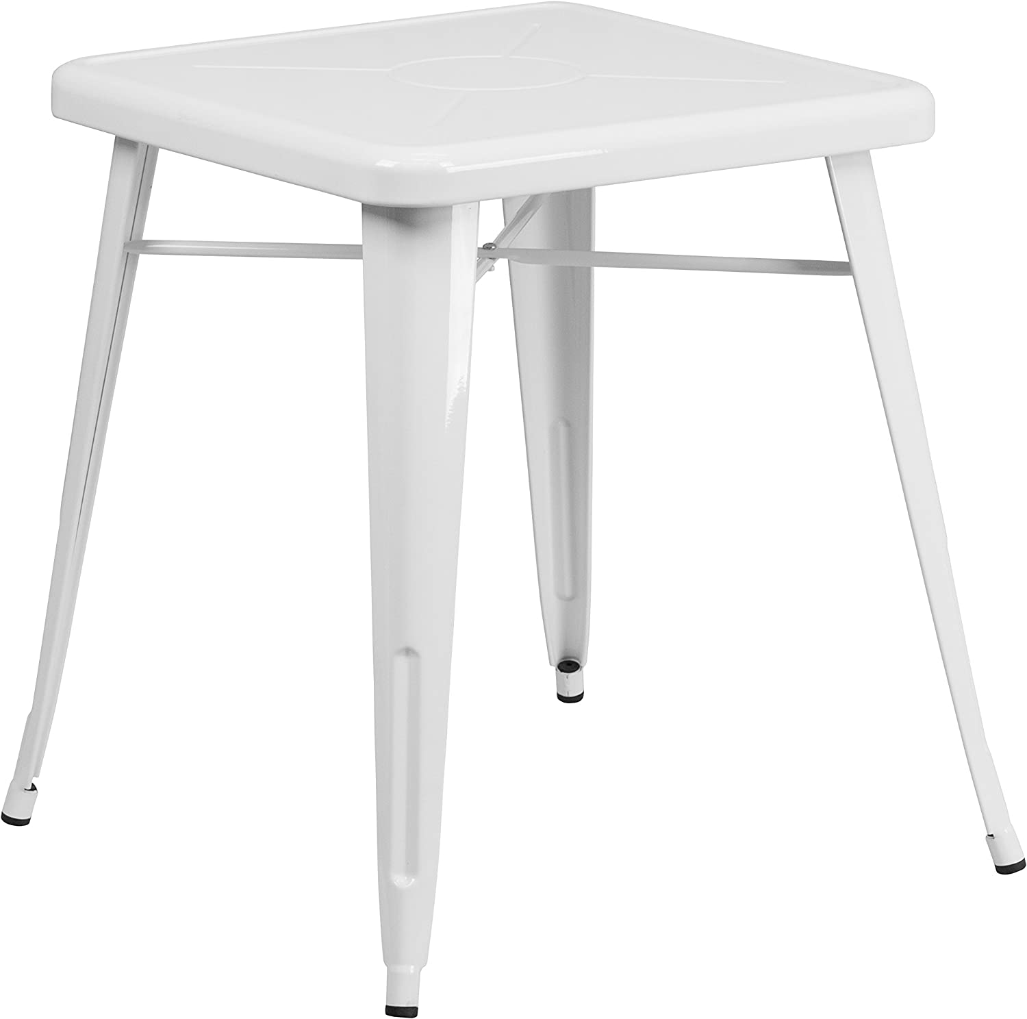 """Flash Furniture Commercial Grade 23.75"""" Square White Metal Indoor-Outdoor Table"""