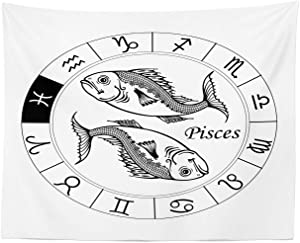 """Lunarable Zodiac Pisces Tapestry, Monochrome Illustration with Astrology Theme Hand Drawn Fish Pattern, Fabric Wall Hanging Decor for Bedroom Living Room Dorm, 28"""" X 23"""", Monochrome"""