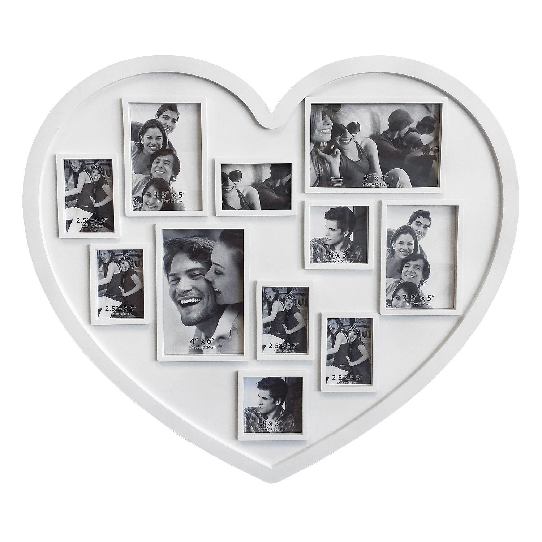 Amazon.de: Bilderrahmen Fotorahmen Herz für 11 Bilder Weiss ...