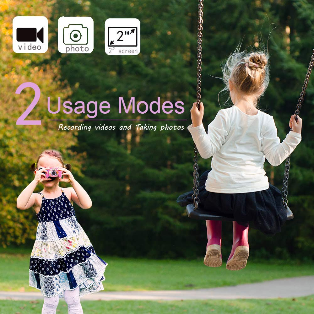 denicer Kids Camera Children Camcorders HD 2 Inch Screen with Mic, SD Card Non-Slip and Anti-Drop Design Children's Camera Taking Videos and Photos for Girls & Boys Birthday Gift by denicer (Image #3)