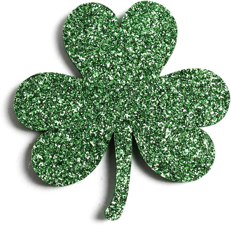 100pcs//bag Glitter Shamrock St Patrick/'s Day Patches Appliques DIY Materials