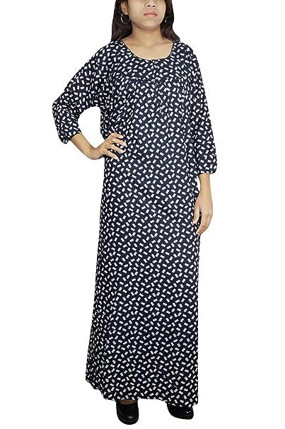 Indiatrendzs Womens Long Maxi Dress Printed Rayon Sleep Wear Dark Blue Gown  XXL  Amazon.in  Clothing   Accessories 7ee2c4da6