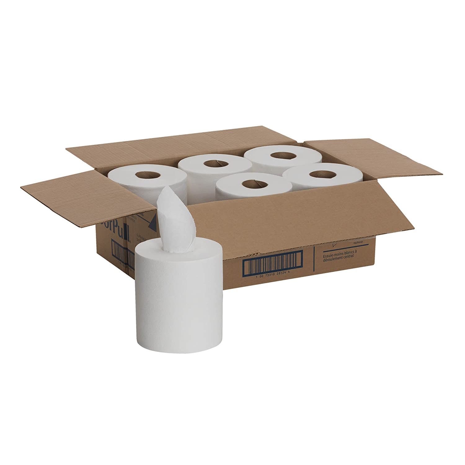 Center-Pull Perforated Paper Towels, 7-3/4 x 15, White, 320/Roll, 6/Carton (並行輸入品) B0017DETBA  1ケース、リフィル6本入り