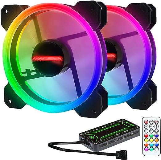 ZXLLAFT Ventilador RGB 120Mm Dual Halo PC, 2 Ventiladores + 1 ...