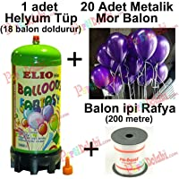 Helyum Gazı Tüp + 20 Adet Mor Balon Metalik Uçan Balon + İpi