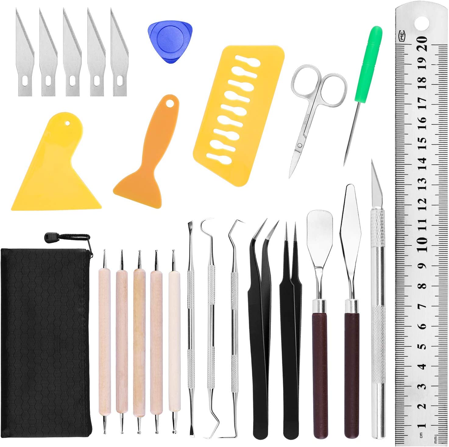 Famomatk 26PCS Craft Weeding Tools Set for Vinyl,Craft Basic Set Vinyl Weeding Tool Kit for Silhouettes,Cameos,Lettering,Cutting,Splicing
