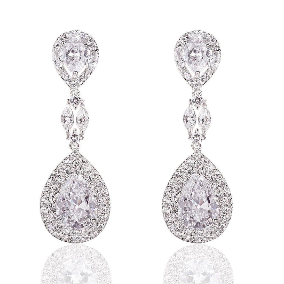 b44ae9926 Amazon.com: Wordless Love Genuine Rhodium Plated Cubic Zirconia Teardrop  Bride Wedding Dangle Pierced Earrings Clear: Jewelry