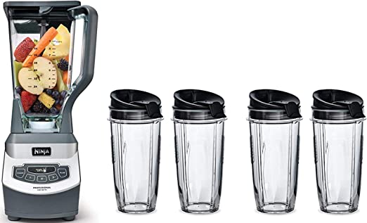 Professional Countertop Blender with 1100-Watt Base, 72oz Total Crushing Pitcher and (4) 16oz Cups for Frozen Drinks and Smoothies (BL660) (1100W 72oz ...