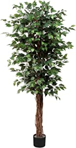 Artificial Ficus Tree 6ft in Pot Fake Silk Plant with Green Leaves Natural Trunk for Indoor Outdoor Home Garden Decor