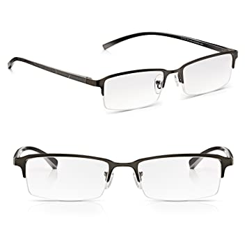 c7272a20e61d Read Optics 2 Pack Mens Half Frame Reading Glasses with Spring Hinges:  Stylish Clear Lens