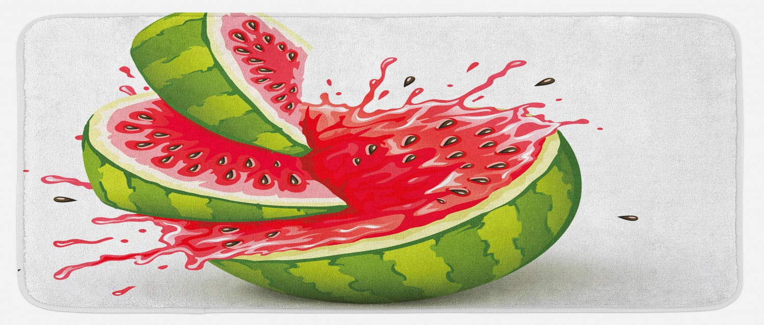 Ambesonne Modern Kitchen Mat, Summer Fruit Ripe Watermelon Cuts with Splashes of Juice Drops Print, Plush Decorative Kithcen Mat with Non Slip Backing, 47 W X 19 L Inches, Red White and Fern Green