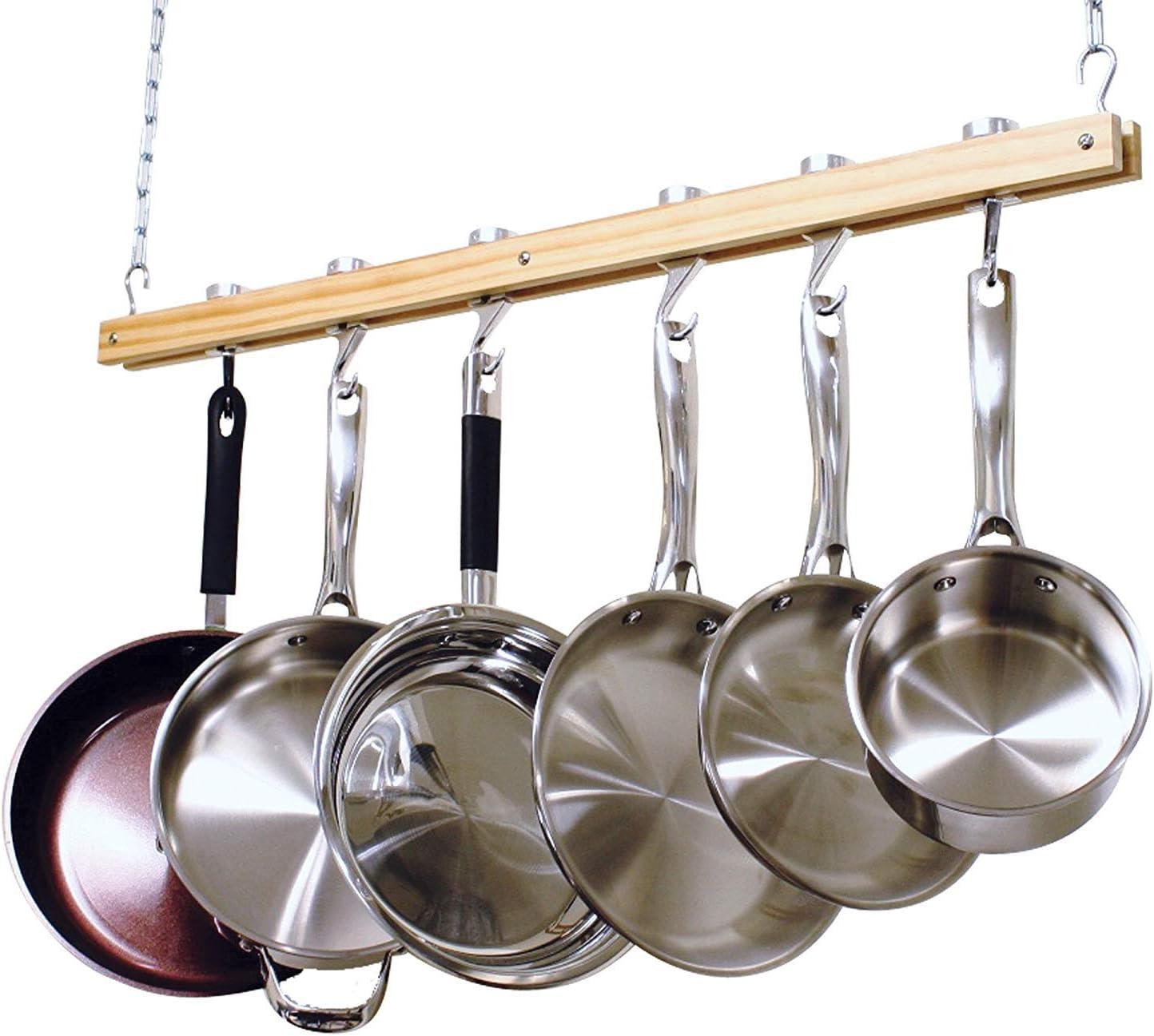 Cooks Standard, Single Bar, 36-Inch Ceiling Mounted Wooden Pot Rack, Brown: Kitchen Pot Racks: Kitchen & Dining