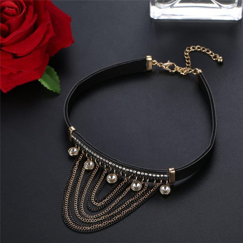 Mrsrui Choker Necklace Set Black Velvet Choker Tattoo Necklace Classical Gothic Chokers for Women Girls (A) by Mrsrui (Image #2)