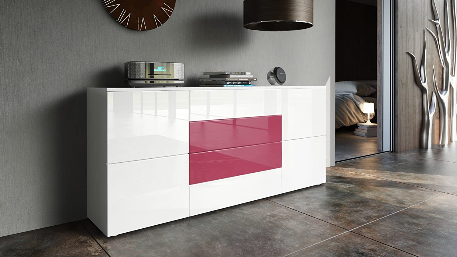 Vladon Sideboard Chest of Drawers Rova, Carcass in White matt/Fronts in White High Gloss and Raspberry High Gloss White High Gloss / Fuchsia High Gloss