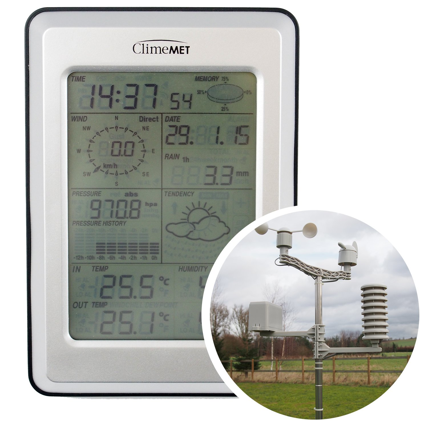 ClimeMET CM2000 Professional Wireless Weather Station Includes FREE EasyWeather Computer Software.