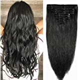 "S-noilite 10""-22"" 120g-160g THICK DOUBLE WEFTS Clip In Hair Extensions Human Hair Full Head Set Long Straight for Women Beauty"