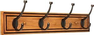 Liberty 129846 27-Inch Galena Hook Rail/Coat Rack with 4 Pilltop Hooks, Honey Maple and Statuary Bronze
