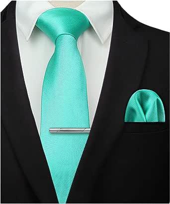 HISDERN Panuelo de corbata Aqua solido para hombre Fiesta de boda ...