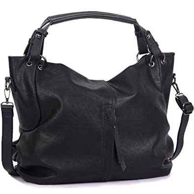 4270ded9c1 Handbags for Women WISHESGEM Large Capacity Ladies Hobo Purses Top Handle PU  Leather Shoulder Bags Black