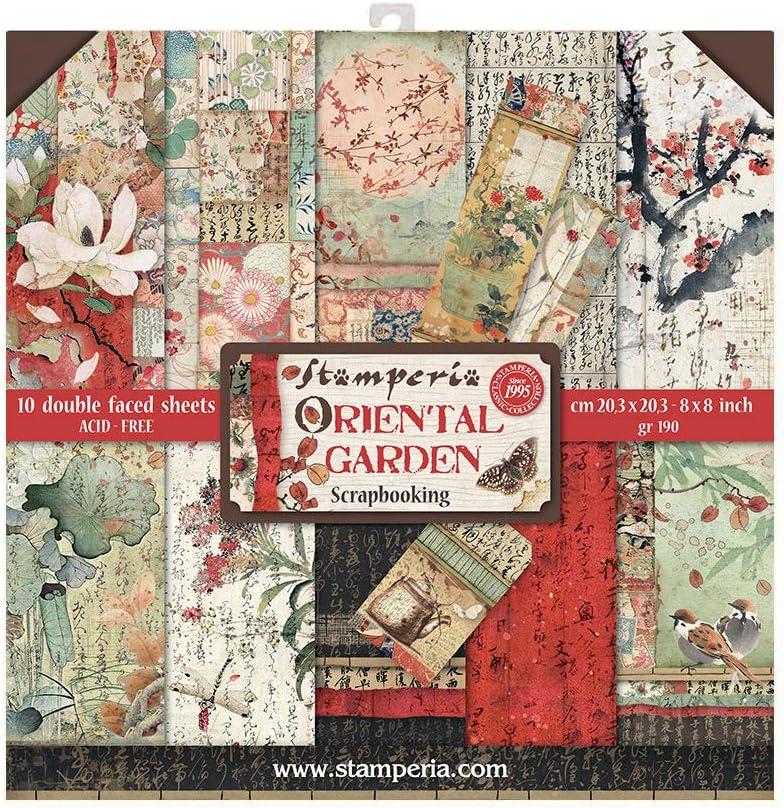 STAMPERIA Oriental Garden-Bloc de Papel (10 Hojas, 20,3 x 20,3 x 8 Pulgadas, Doble Cara), Multicolor, talla única