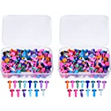 Willbond 500 Pieces Assorted Colored Mini Round Brad Pastel Brads with Storage Box for Arts Crafts Scrapbooking Making and DIY