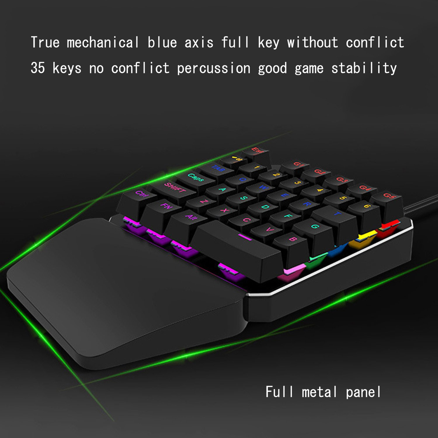 Amazon.com: Mechanical Gaming Keyboard One Handed Keyboard 35 keys Anti-ghosting Keyboard Portable Wired Game Blue Switch Keypad with 7 Color Led Backlit ...