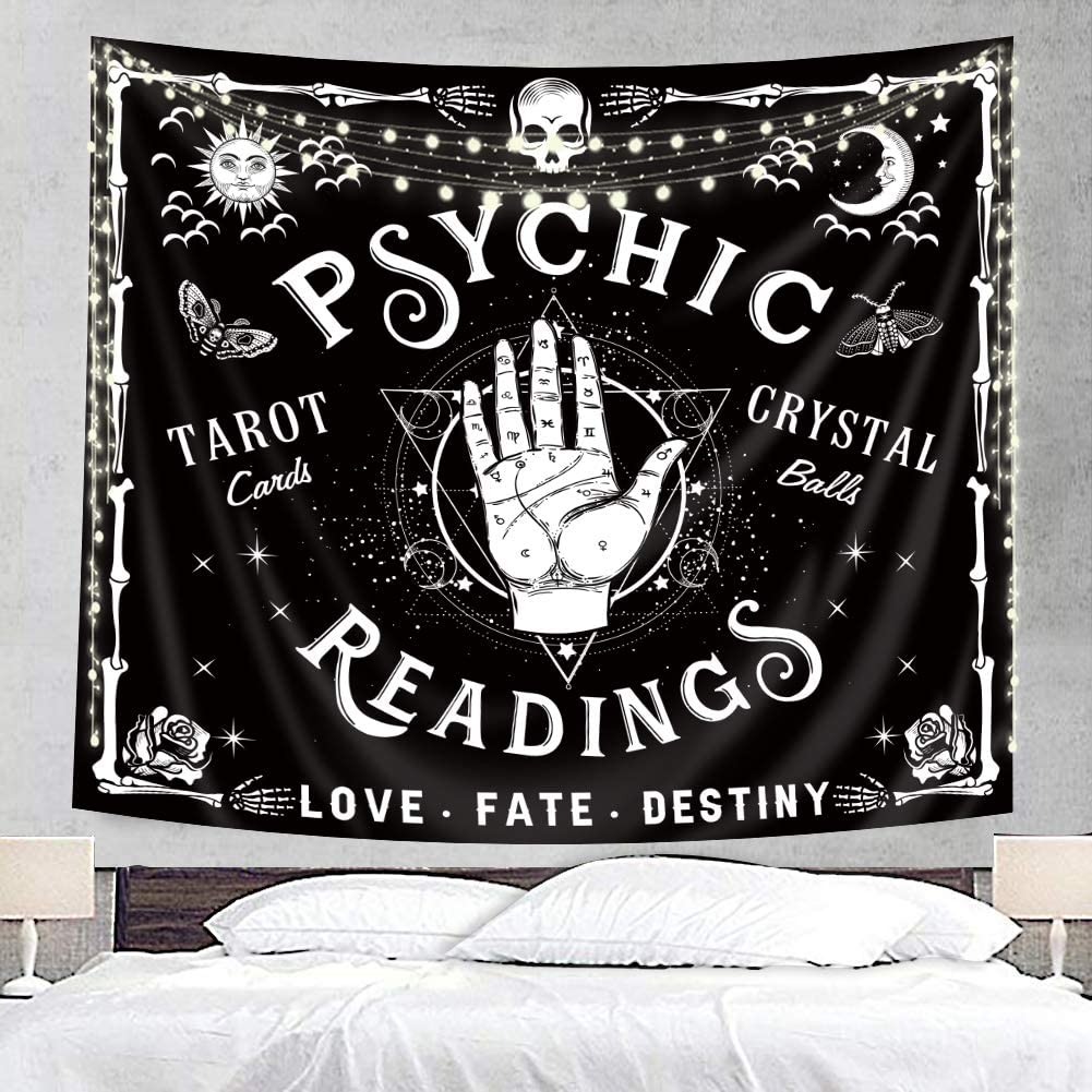 Homewelle Hand Reading Tapestry Psychic 59Wx51L Inch Cute Unique Whimsy Cool Palmistry Astrology Goth Spooky Occult Aesthetic Hippie Mandala Bohemian Psychedelic Novelty Wall Hanging Room Decor Fabric
