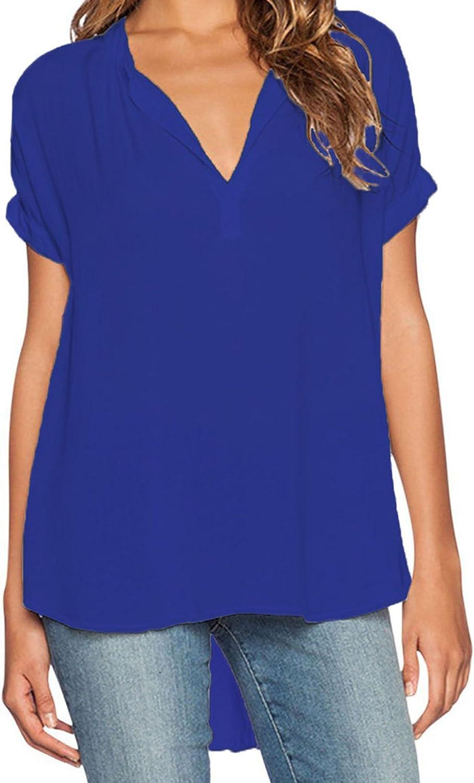 Elevesee Camisa Mujer Pulóver Chiffon Blouse Escote V Azul Manga Corta